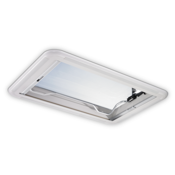 Dometic Heki 2 De Luxe - Dakluik voor caravans met geïntegreerde verlichting en geplisseerd gordijn