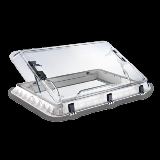 Dometic Heki 2 De Luxe - Dakluik voor caravans met geïntegreerde verlichting en geplisseerd gordijn -