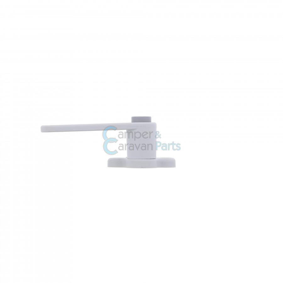 Plastoform raamgrendel links wit - met grijze drukknop -