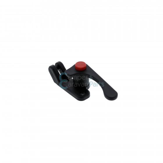 Plastoform raamgrendel links zwart met rode drukknop -