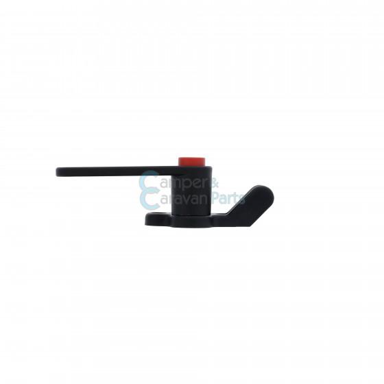 Plastoform raamgrendel links zwart met rode drukknop