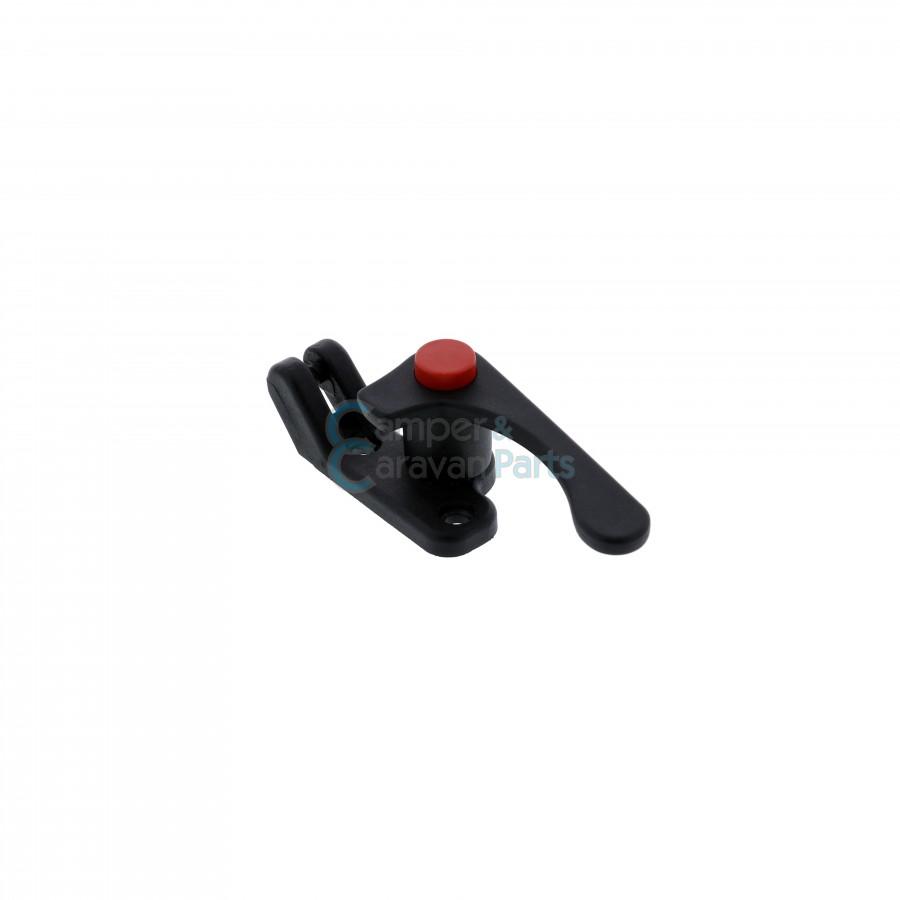 Plastoform raamgrendel rechts zwart met rode drukknop -